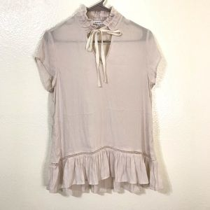 Ro&De Cream Ruffle Tie Neck Eyeley Hem blouse XS